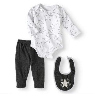 NWT Bon Bebe Newborn Boy Bodysuit, Pants & Bib Set